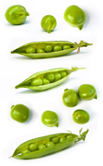 set of fresh green pea in the pod isolated on white background