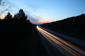 Highway - motorway view at late sunset