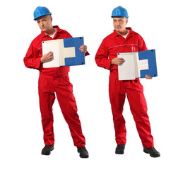 inspector in red uniform and blue hardhat showing page