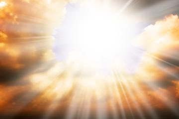 Aluminium Prints Heaven Heaven religion concept - sun rays and sky