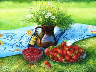 Still-life with camomiles and a strawberry