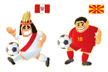Football macots Peru Macedonia