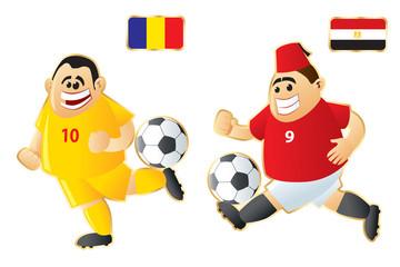 Football macots Romania Egypt