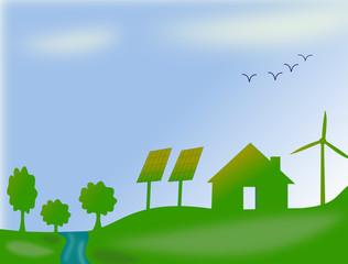 Habitation écologique avec panneaux solaire et éolienne