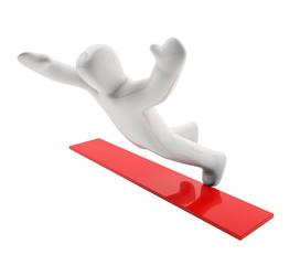 Figur Sturz (mit Freistellungspfad/clipping path)