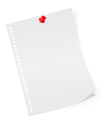 sheet of paper with pin