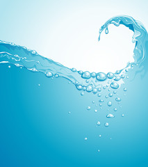 Clear water wave splashing background. Vector layered.