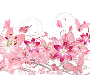 floral pattern of lilies