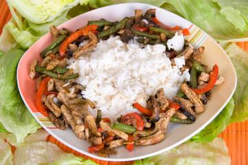 mediteranes Geschnetzeltes mit Reis