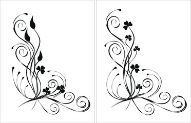 2 floral elements for design, vector