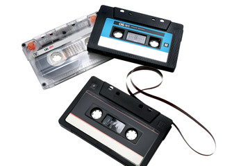 three audiocassette isolated on a white background