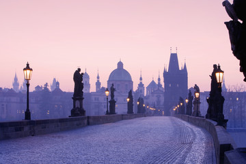 Poster Prague charles bridge, towers of the old town