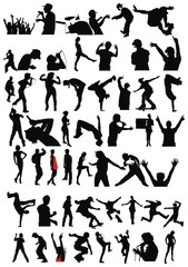 Set active children vector silhouettes
