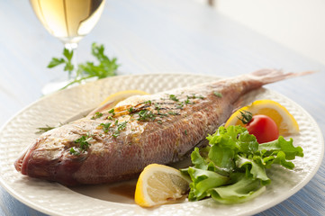 grilled red snapper with salad and glass of white wine