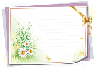 Empty paper with colorful flowers