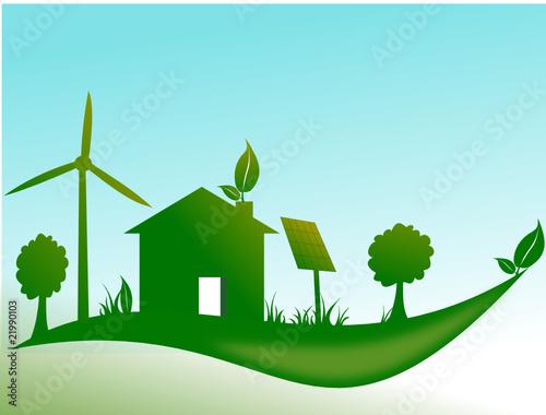 Maison cologique avec olienne et panneau solaire fichier vector - Prix panneau solaire pour maison ...
