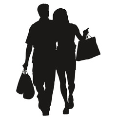 Silhouette couple shopping