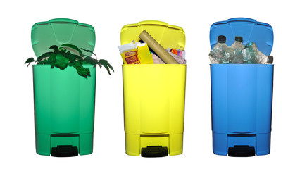 tri sélectif - lot de 3 poubelles