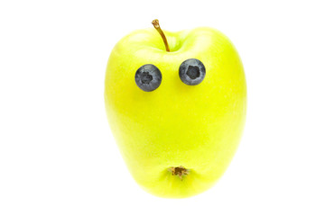 funny little man from the apple  isolated on white