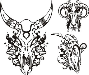 Skull of a horned animal and the ram. Fantasy Zodiac.