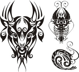 Horned bull and cancer. Fantasy Zodiac.