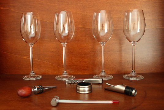 Wine accessories on wood background