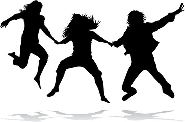 Jumping girls silhouette - vector..