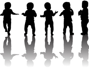 five baby silhouettes with reflections