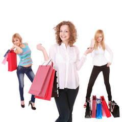 small group shopping girls