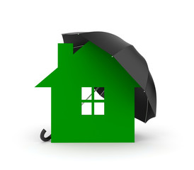 Umbrella and house symbol. You property in safety