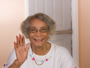 Retired African American Woman Waving