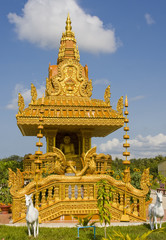 The image of Buddha in the temple town of Kampot, Cambodia.