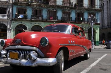 Garden Poster Cars from Cuba Cuba in rot