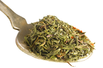 thyme spice in spoon