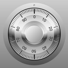 Safe combination lock wheel.