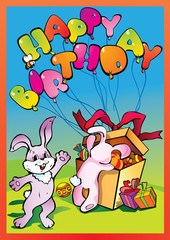 Poster Dogs Birthday postcard with rabbits. Vector art-illustration.