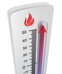 Thermometer : rise of temperature
