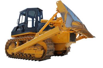 bulldozer over white