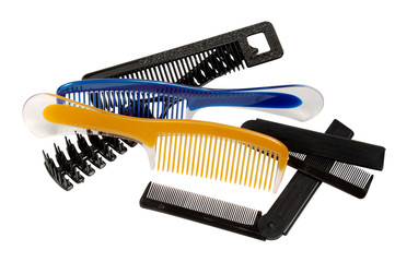 hairbrushes on a white background