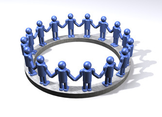 A circle of blue men joined in display of unity