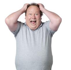 homme obèse colère tirer les cheveux