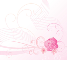 pink rose and cheryy flowers background