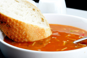 Vegetable Soup with a Slice of White Bread