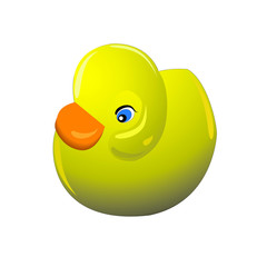 Cute yellow rubber duck.