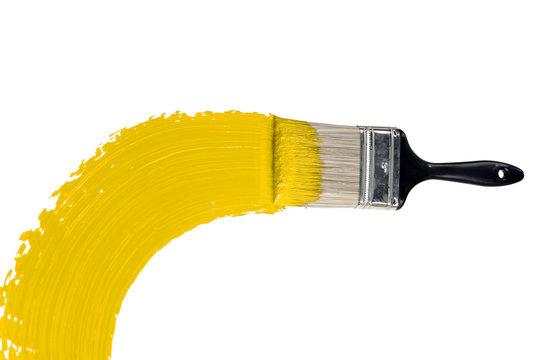 Brush With Yellow Paint