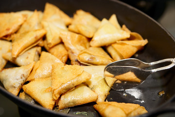Heap of fried indian samosa