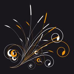 Floral ornament on black background