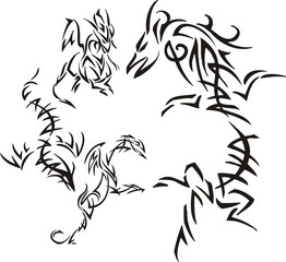 Dragon with a long body. Tribal dragons.