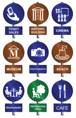 Entertainment recreation tourism sign collection