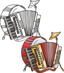 Accordion and red drum. Musical instruments.